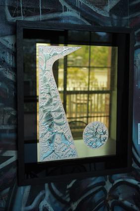 'Solitude' - 23k Gold leaf and 12k gold leaf on glue chipped glass, 750 x 600