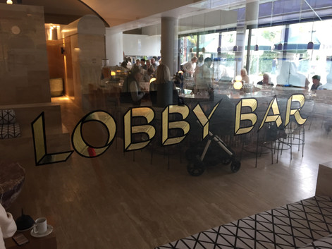 Calile lobby bar signage, 23k Gold with 22k Satin gold fill