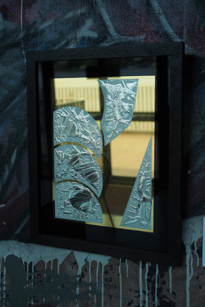 'Supported' - 23k Gold leaf and 12k gold leaf on glue chipped glass, 500 x 450