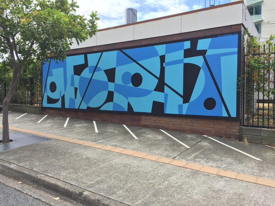 UTOPIA (Reconstructed) - we exist in one utopian paradise but dream of others, whereby duality upsets equilibrium. Commissioned by Queensland Rail in Hope St, South Brisbane. 9m x 2.5m