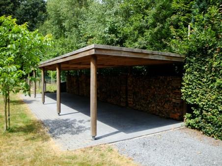 PeetersJef.be - Carport met ronde houten kolommen