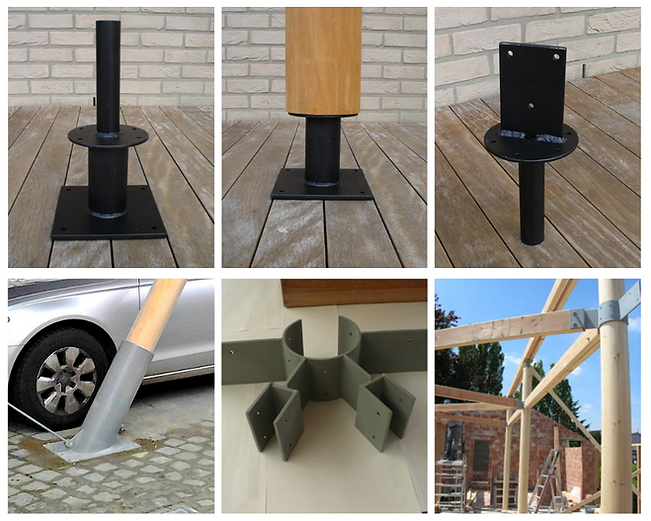 Ronde houten kolommen montage stukkn