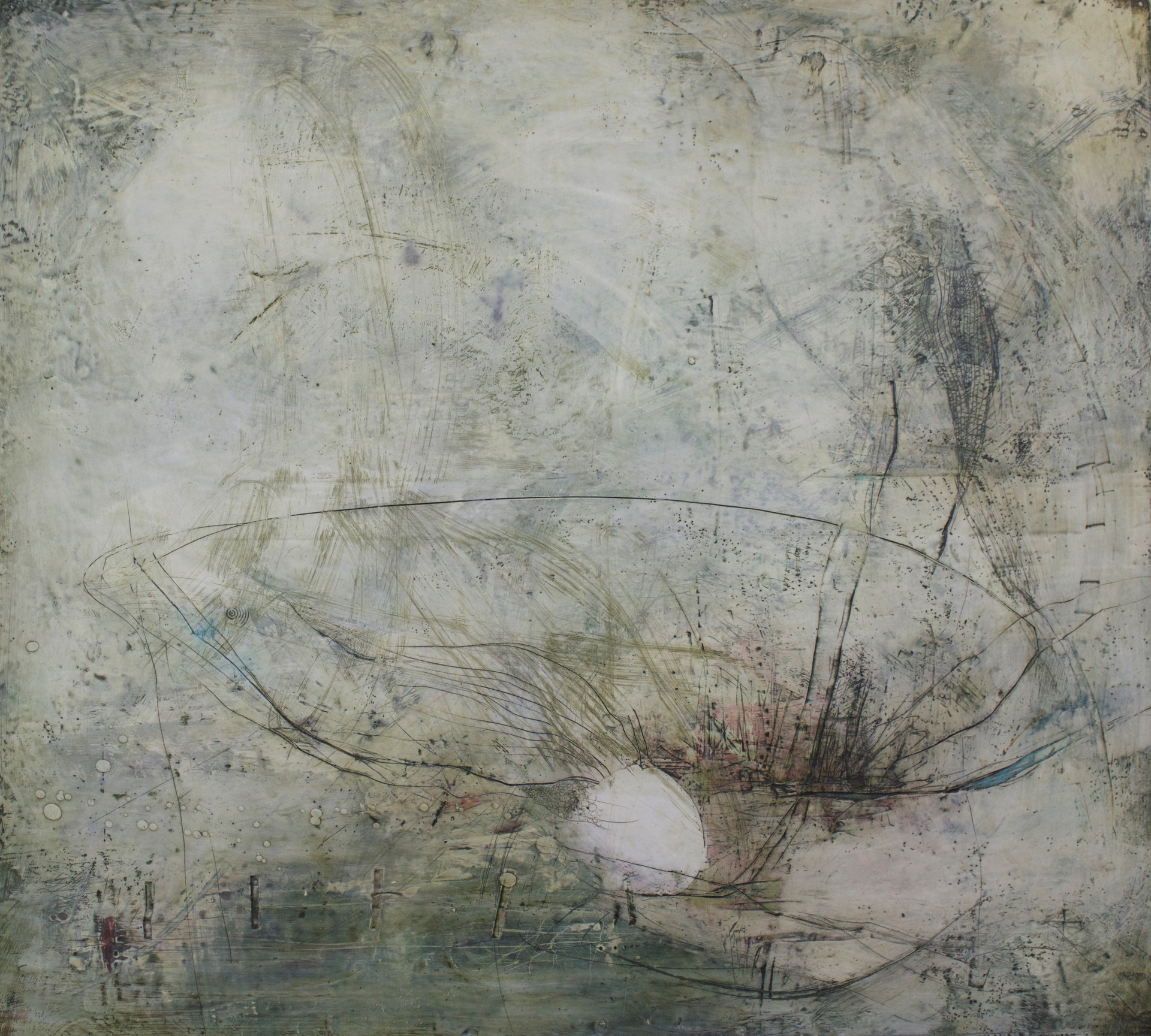 "#142 Encaustic on wood 40""x32"""
