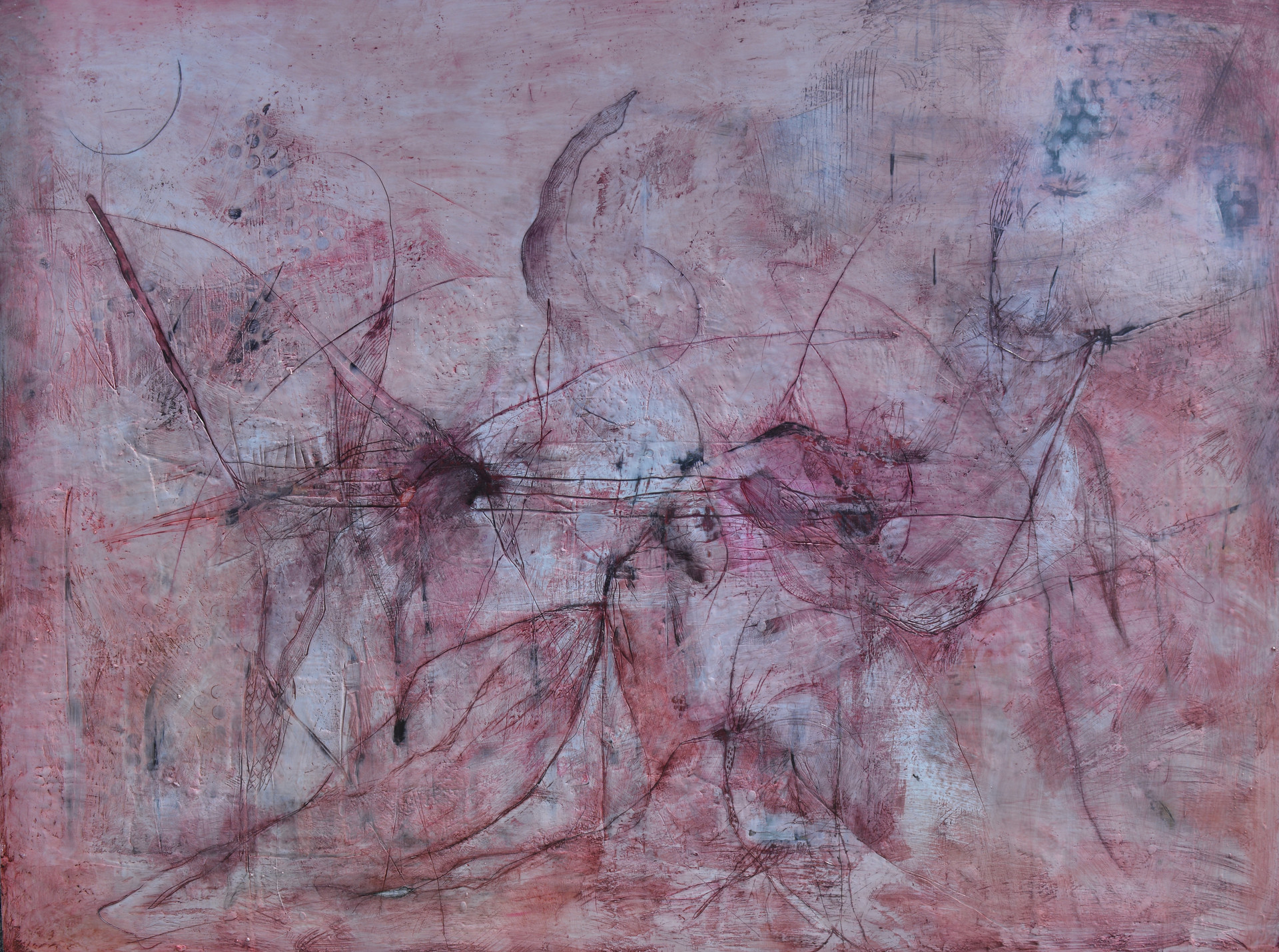 "Imprint,  Encaustic on wood 80""x60"""