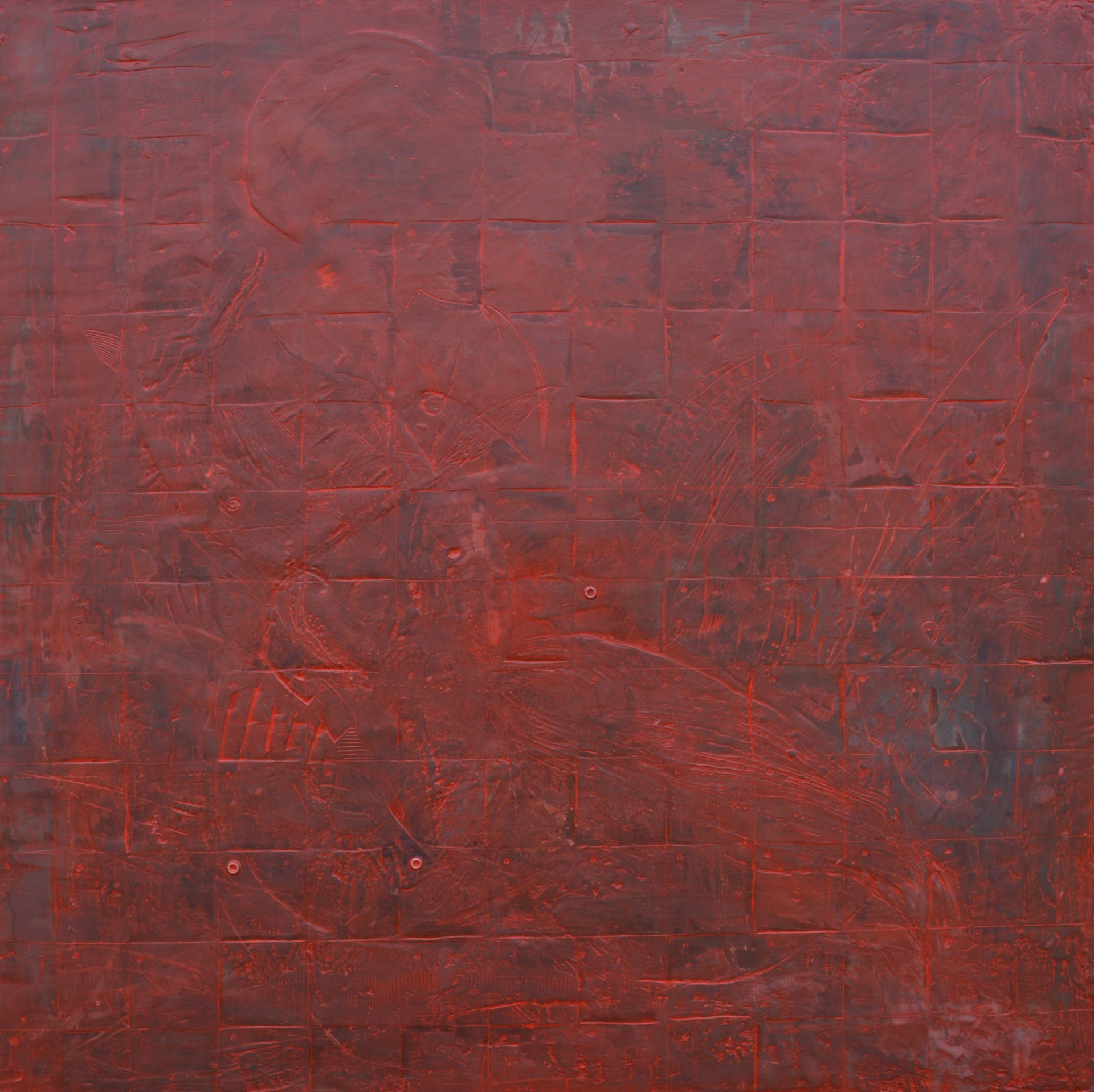 "Red #28 Encaustic on wood 30""x30"""