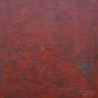 """Red Cartography Encaustic on wood 30""""x30"""""""