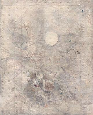 "New Moon Encaustic on wood 50""x70"