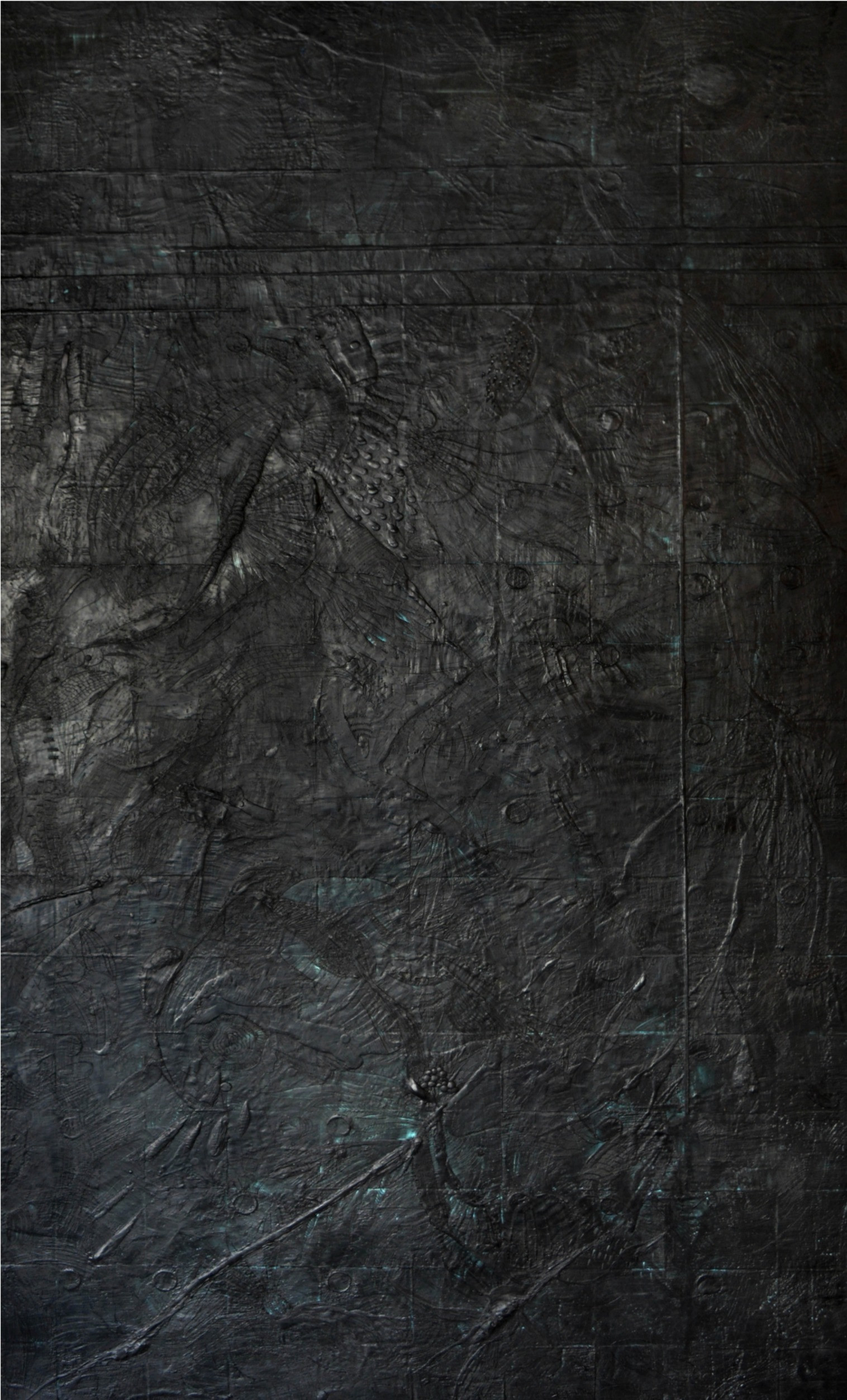 "Portal - Black Encaustic on wood 45""x85"""