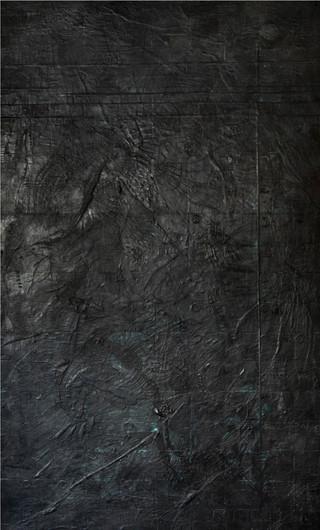 """Portal - Black Encaustic on wood 45""""x85"""""""