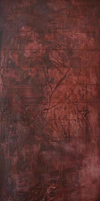 """Red #12,  2015 Encaustic on wood 45""""x85"""""""
