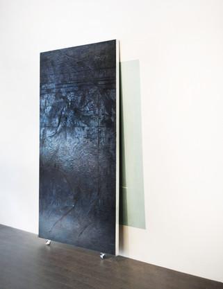 """Black Grid, 2015 Encaustic on wood 45""""x85"""""""