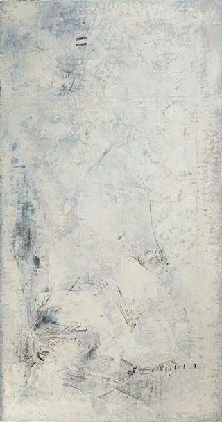"""White Grid, 2015 Encaustic on wood 45""""x85"""""""