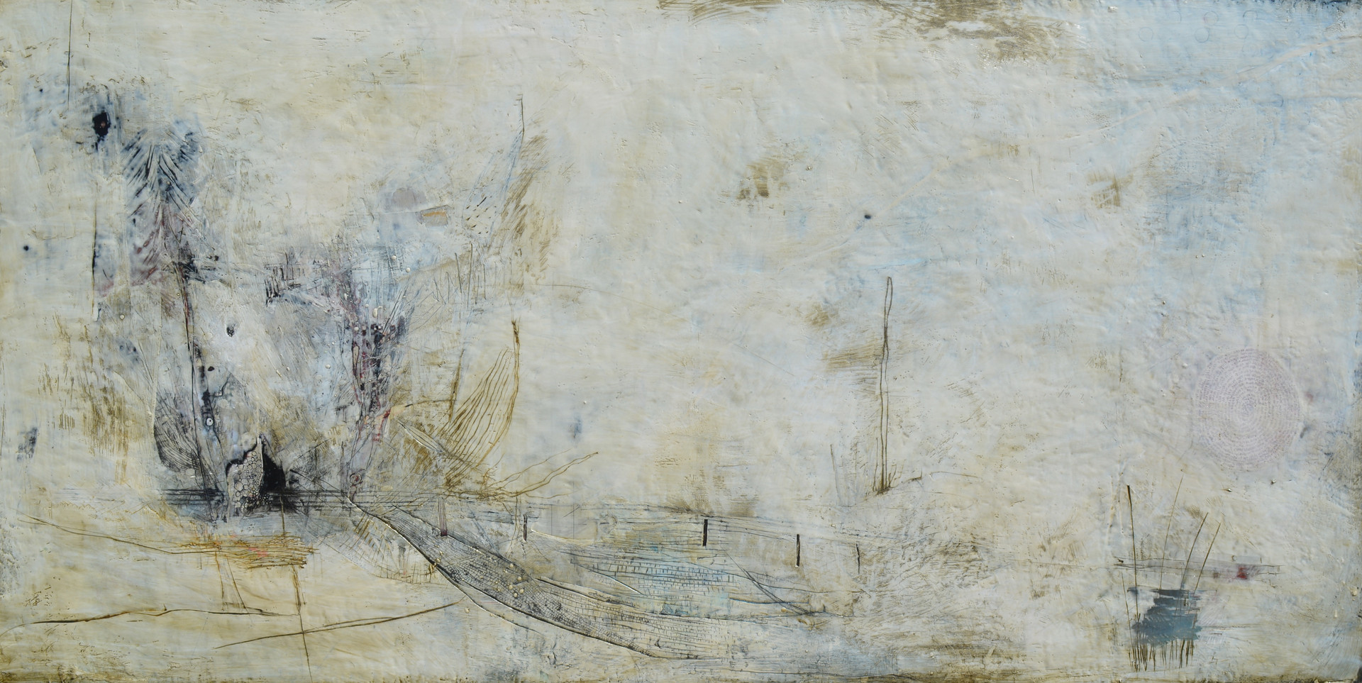 "new Moon Encaustic on wood 85""x45"""