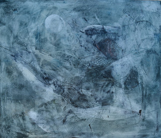 "Tida Traces, 2013 Encaustic on wood 70""x 60"""
