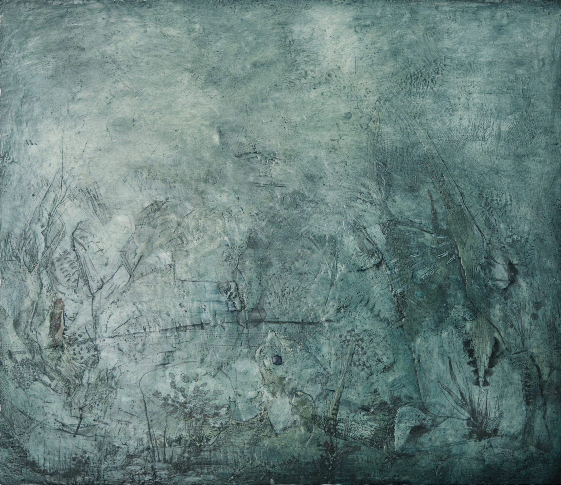 "#843 Encaustic on wood 80""x60"""