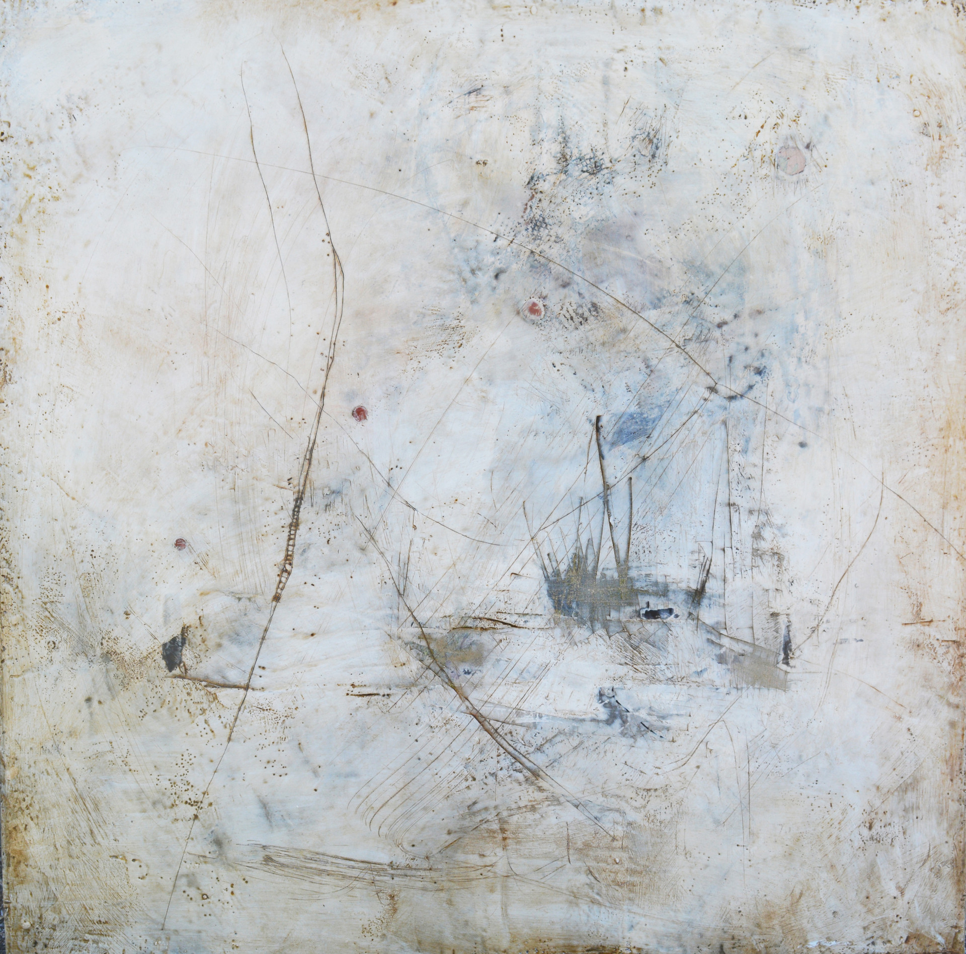 "Aquatic Trace,  Encaustic on wood 30""x30"""