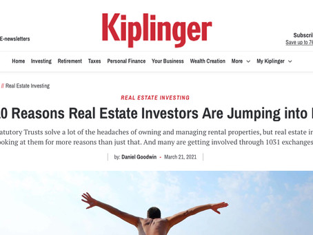 Top 10 Reasons Real Estate Investors Are Jumping into DSTs by: Daniel Goodwin - March 21, 2021