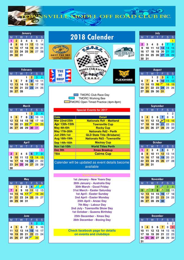 Tmorc 2018 Race Calendar