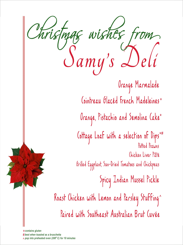 Christmas Hamper menu card design