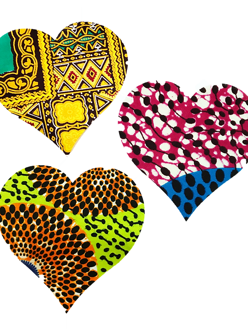 African Fabric Hearts-50-4-inch pieces