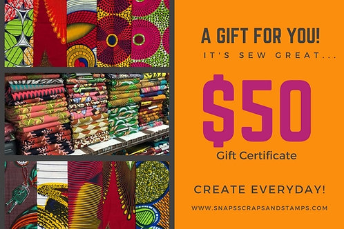 $50 Sew Great Gift Certificate