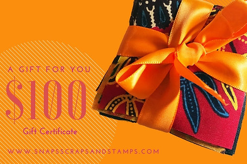 $100 Sew Great Gift Certificate