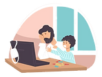 upset-dad-son-sitting-laptop-home-vector