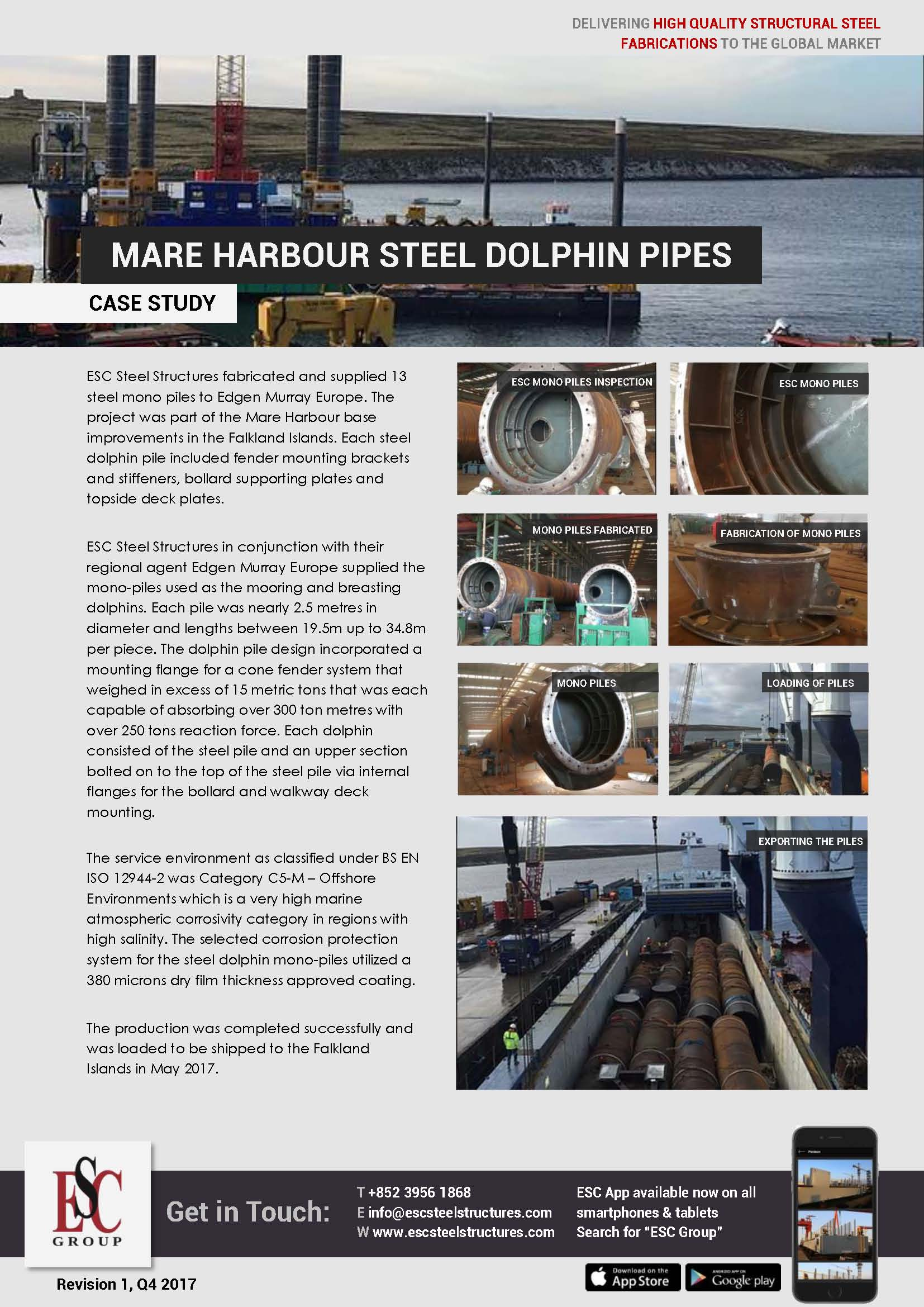 Mare Harbour Steel Dolphin Pipes