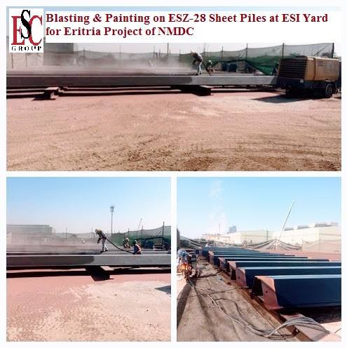 blasting and painting works on esx 28 sheet piles