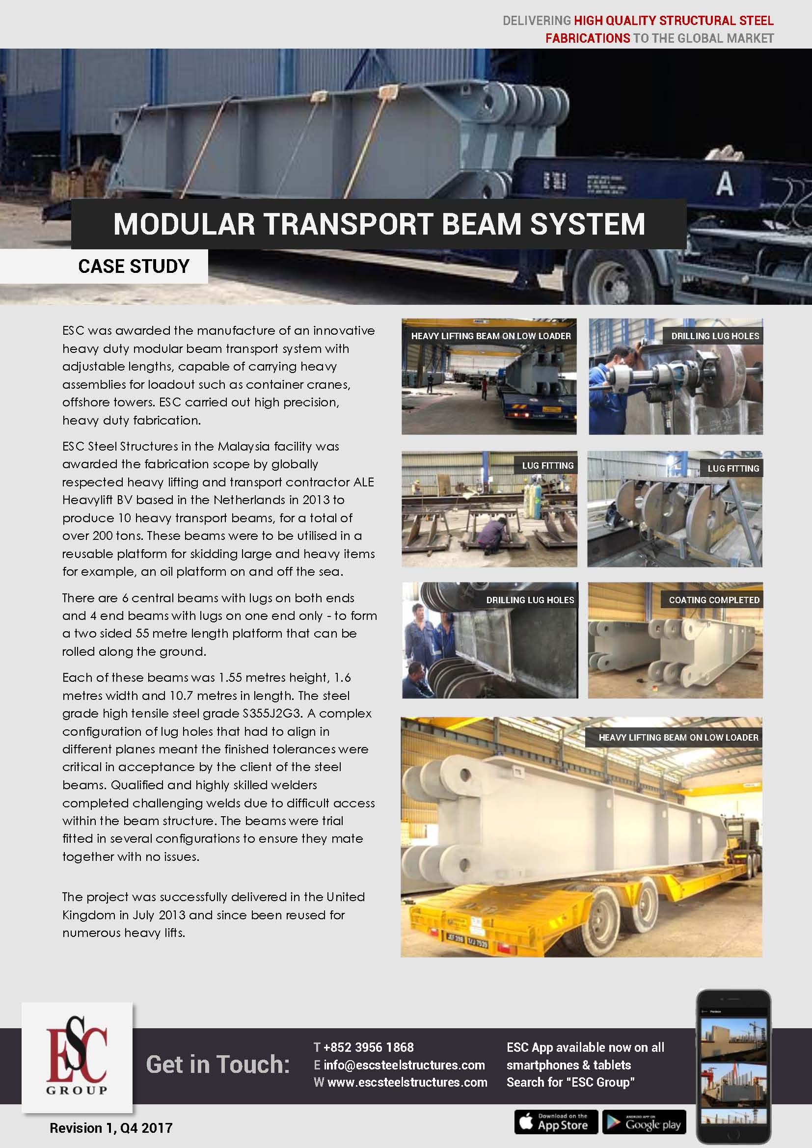 Vigamento de transporte Modular