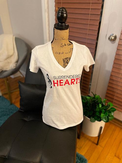 Surrendered Hearts V-Neck Shirt - White