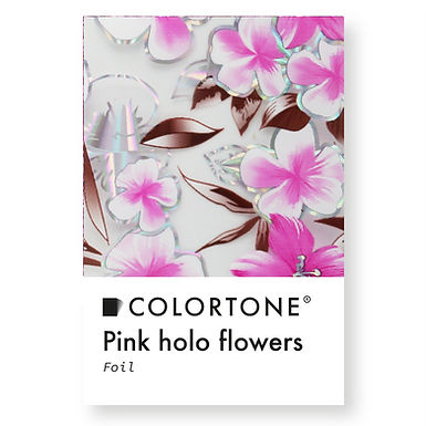Clear Pink holo flowers foil
