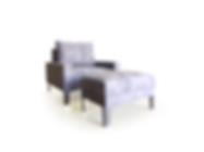 Sofá individual + puff tapizado en tela bruma gris