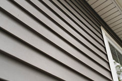 Close up look at vinyl siding on a new h