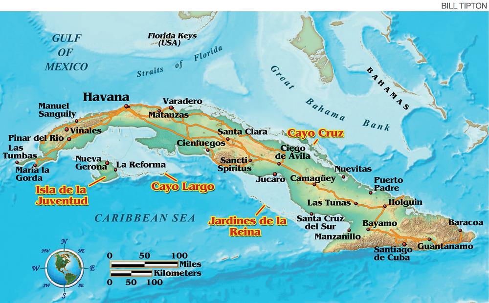 מפת האי קובה והאתר גני המלכה - Jardines de la Reina