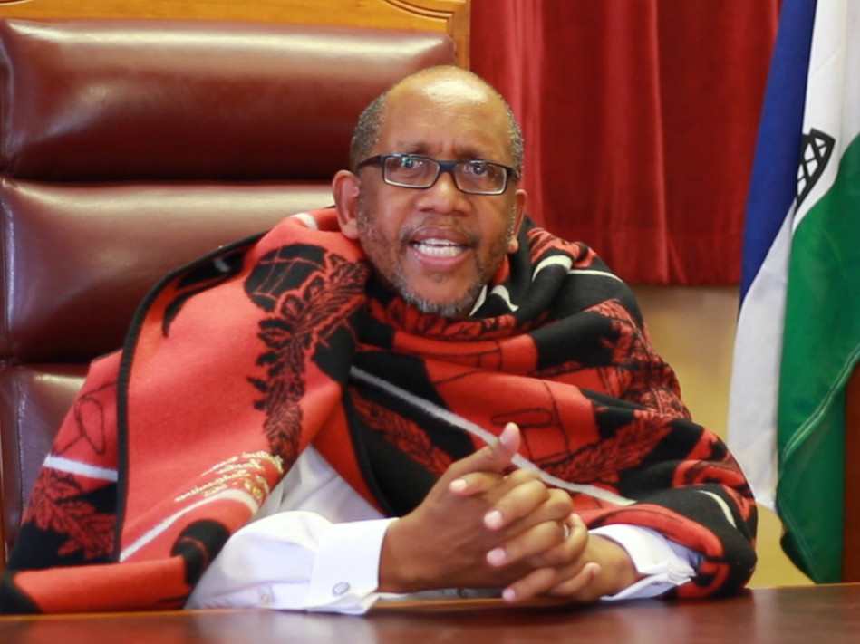 HRH Prince Seeiso, President of the Senate of Lesotho  wearing the Spitfire Heritage Blanket. Our emblem on the national dress of Lesotho. Basotho Blanket Gallery.