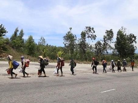 30 công nhân đi bộ từ Bình Định về Quảng Ngãi trong mùa đại dịch cúm Vũ Hán