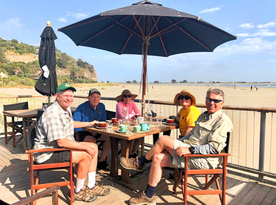 Walking group coffee stop