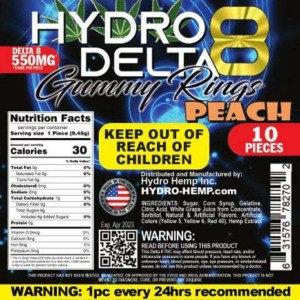 Delta 8 Edibles – Peach Rings – 550MG (10- Pack)