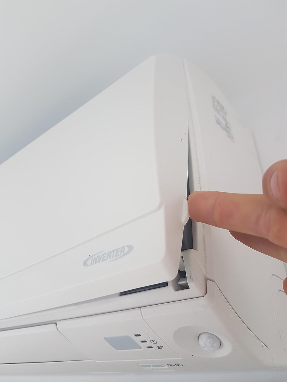 Wakatipu Heating Refrigeration-Change heatpump filter-open panel