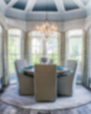 Beautiful modern vintage style interior renovated dining room with chandelier featured on the cover of Midlothian Lifestyle magazine