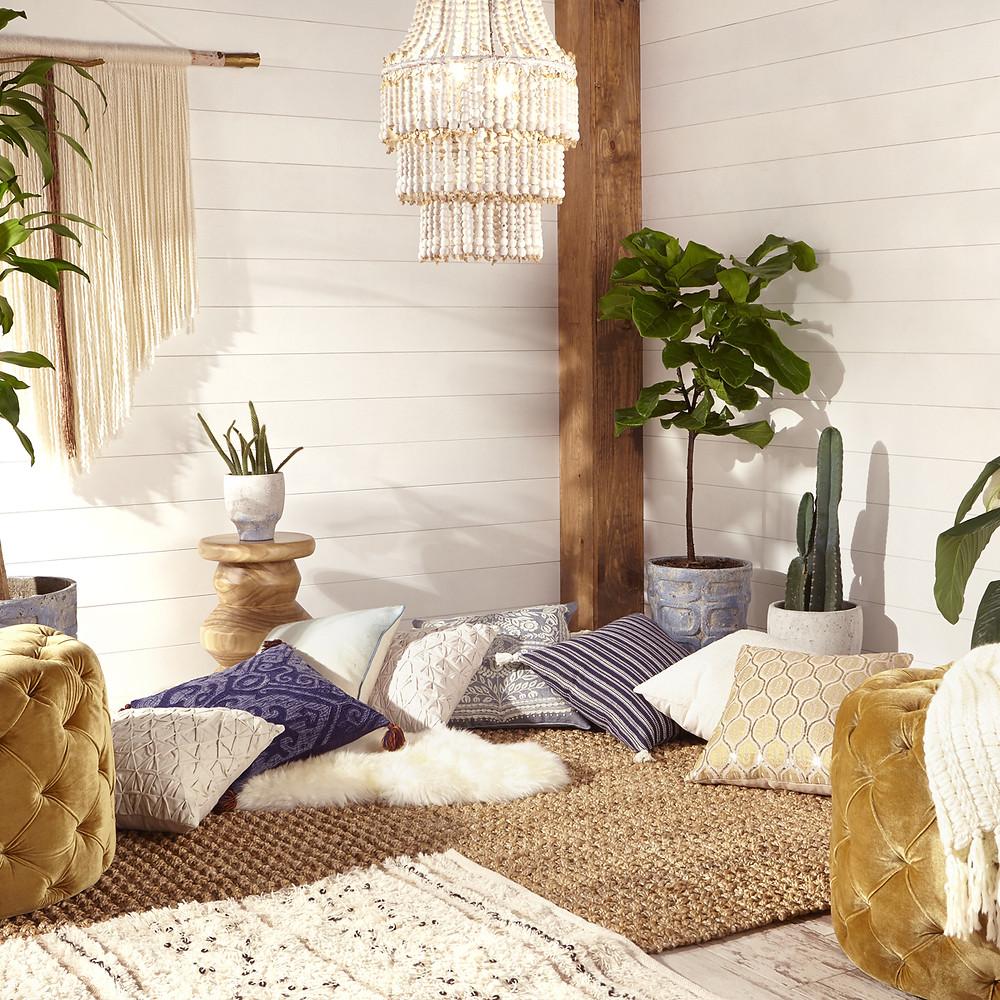Floor plants in Eastern style living room