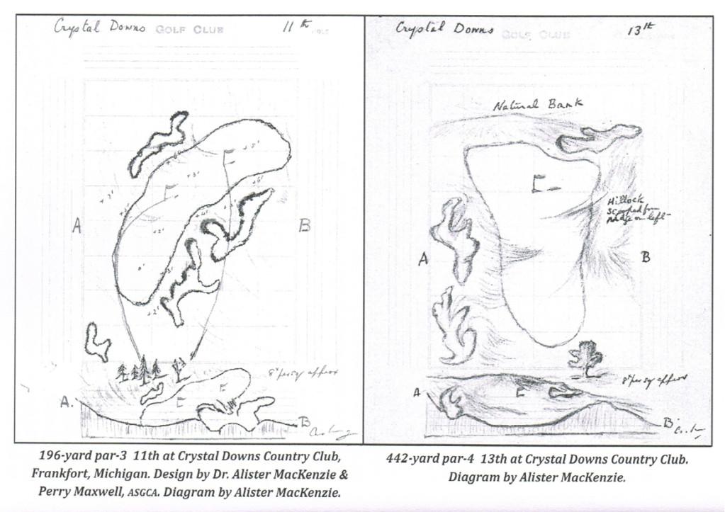 Drawing Crystal Downs #11 and #13 Greens
