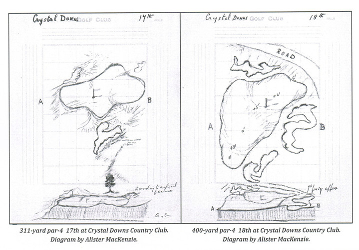 Drawing Crystal Downs #17 and #18 Greens