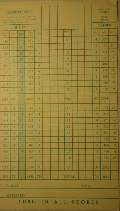 Document circa 1958 Scorecard - Prairie