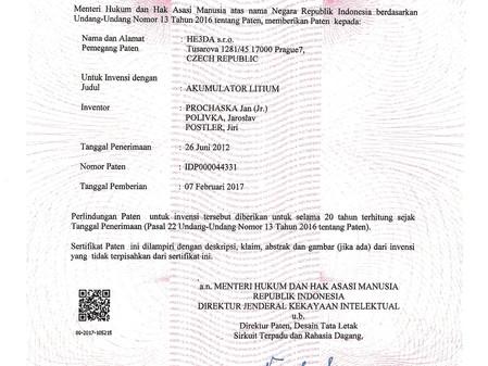 Další významný patent, tentokrát z Indonesie.