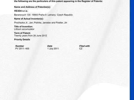 K našim patentům přibyl dnes další z Austrálie.