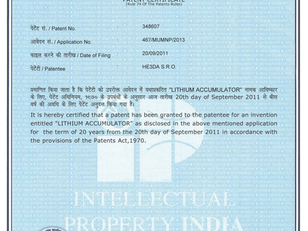 New HE3DA patent in India