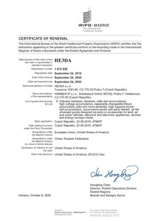 Renewal of the HE3DA trademark
