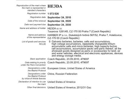 Renewal of the HE3DA trademark